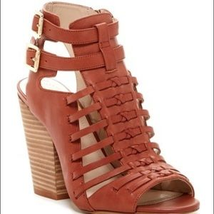 Vince Camuto Open Toe Stacked Heel Sandal